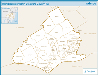 Map Of Delaware County Pa Municipalities within Delaware County, PA